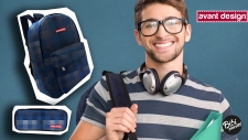 Digital composition of happy college boy with headphones carrying bag and file