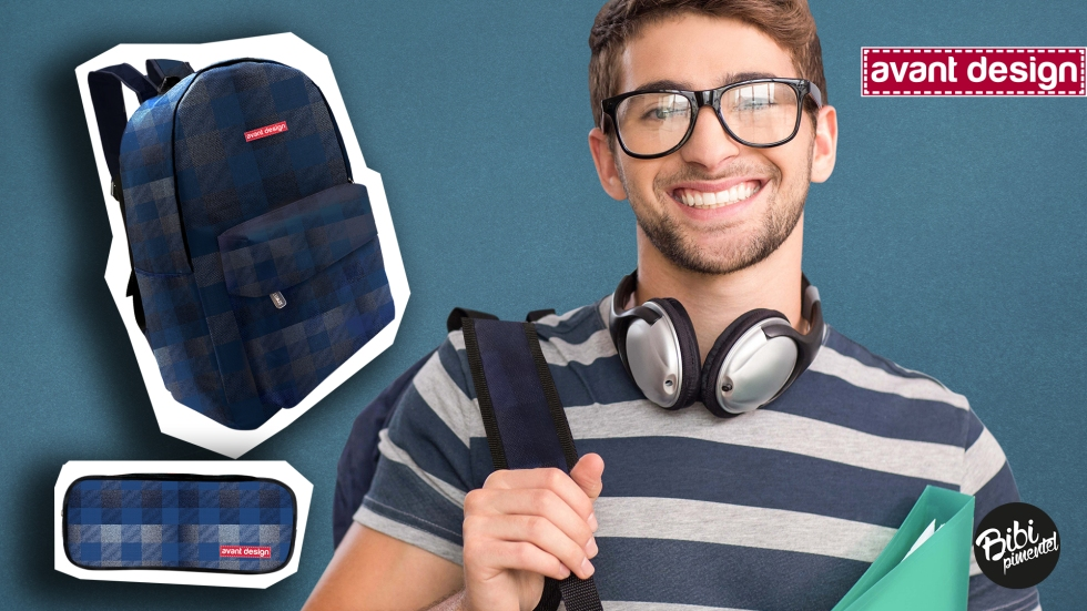 Portrait of a happy college boy with headphones carrying bag and file